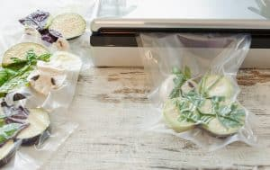 Raw vegetables and mushroom in vacuum sealed package. Ready for sous vide method.
